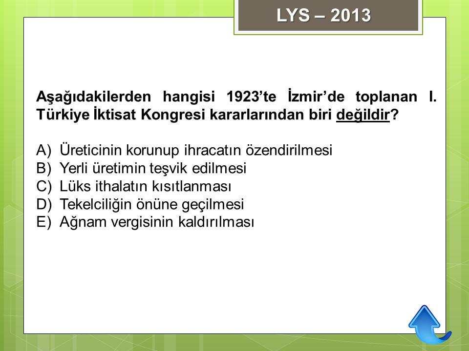 LYS – 2013 Aşağıdakilerden hangisi 1923'te İzmir'de toplanan I. Türkiye İktisat Kongresi kararlarından biri değildir