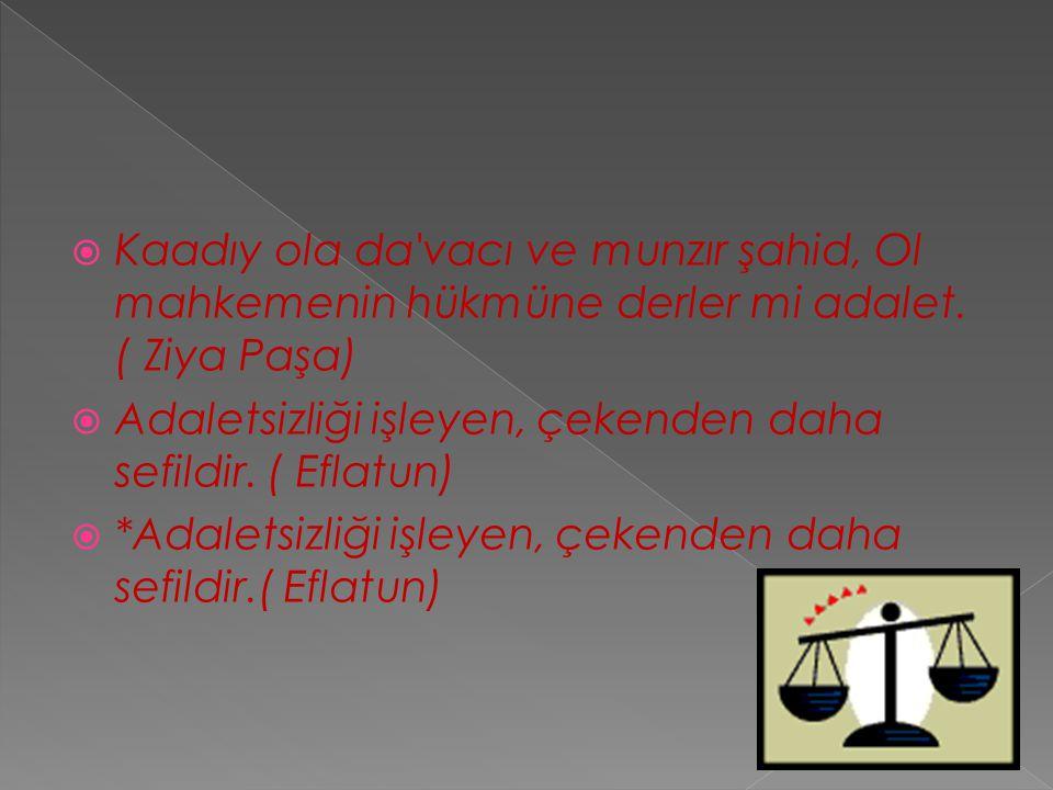 Kaadıy ola da vacı ve munzır şahid, Ol mahkemenin hükmüne derler mi adalet. ( Ziya Paşa)