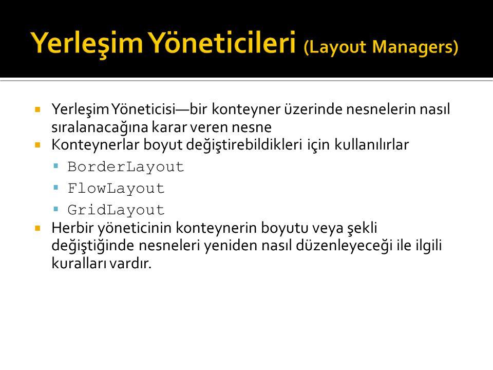 Yerleşim Yöneticileri (Layout Managers)