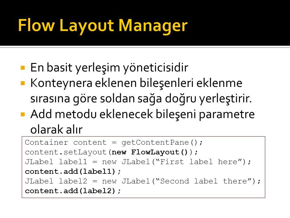 Flow Layout Manager En basit yerleşim yöneticisidir