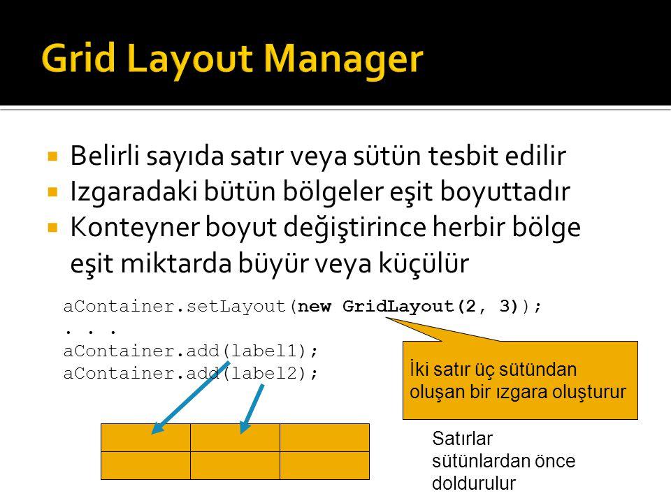 Grid Layout Manager Belirli sayıda satır veya sütün tesbit edilir