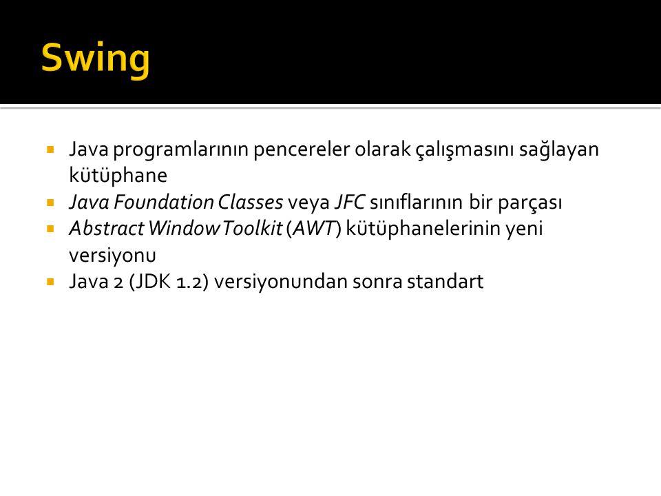 Swing Java programlarının pencereler olarak çalışmasını sağlayan kütüphane. Java Foundation Classes veya JFC sınıflarının bir parçası.