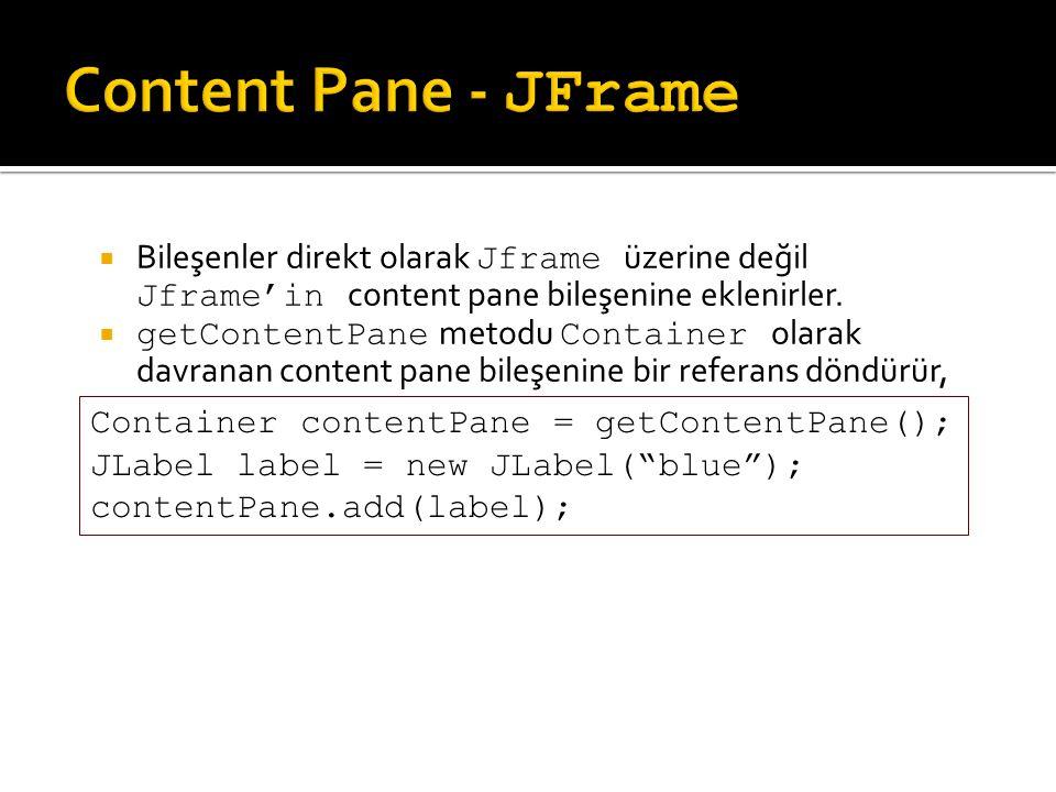 Content Pane - JFrame Bileşenler direkt olarak Jframe üzerine değil Jframe'in content pane bileşenine eklenirler.