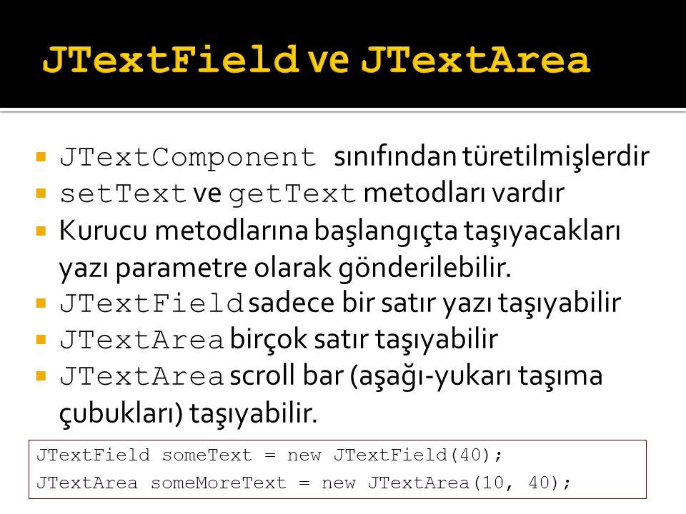 JTextField ve JTextArea