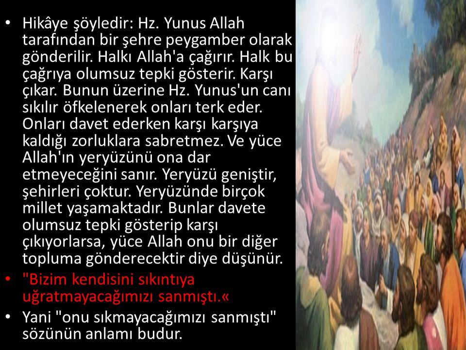 Hikâye şöyledir: Hz. Yunus Allah tarafından bir şehre peygamber olarak gönderilir. Halkı Allah a çağırır. Halk bu çağrıya olumsuz tepki gösterir. Karşı çıkar. Bunun üzerine Hz. Yunus un canı sıkılır öfkelenerek onları terk eder. Onları davet ederken karşı karşıya kaldığı zorluklara sabretmez. Ve yüce Allah ın yeryüzünü ona dar etmeyeceğini sanır. Yeryüzü geniştir, şehirleri çoktur. Yeryüzünde birçok millet yaşamaktadır. Bunlar davete olumsuz tepki gösterip karşı çıkıyorlarsa, yüce Allah onu bir diğer topluma gönderecektir diye düşünür.