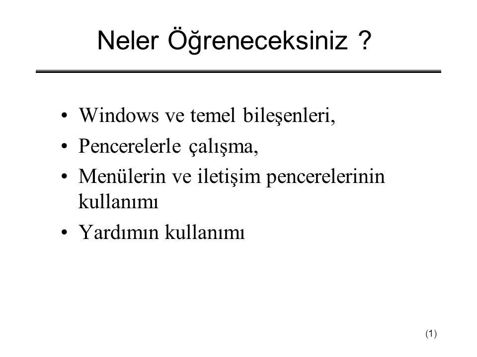 Neler Öğreneceksiniz Windows ve temel bileşenleri,