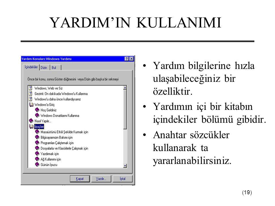 YARDIM'IN KULLANIMI Yardım bilgilerine hızla ulaşabileceğiniz bir özelliktir. Yardımın içi bir kitabın içindekiler bölümü gibidir.