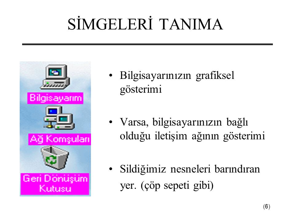 SİMGELERİ TANIMA Bilgisayarınızın grafiksel gösterimi