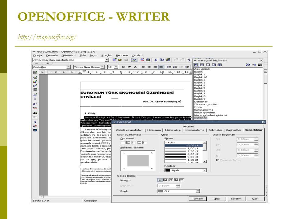 OPENOFFICE - WRITER http://tr.openoffice.org/