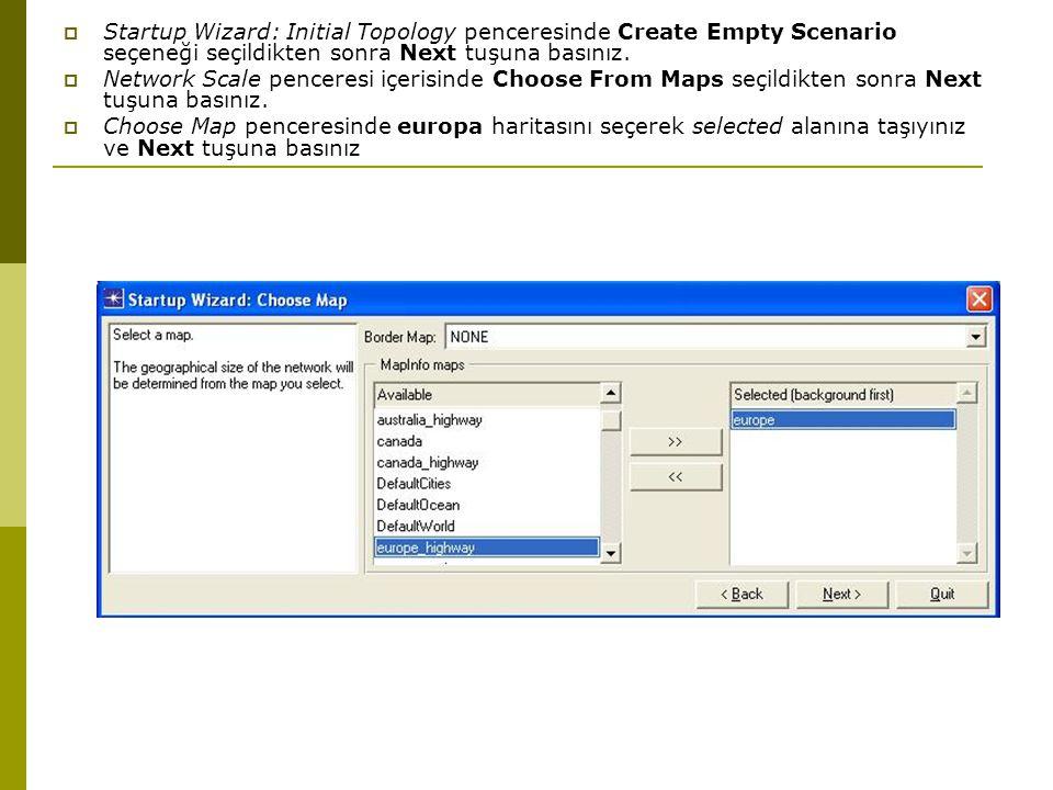 Startup Wizard: Initial Topology penceresinde Create Empty Scenario seçeneği seçildikten sonra Next tuşuna basınız.