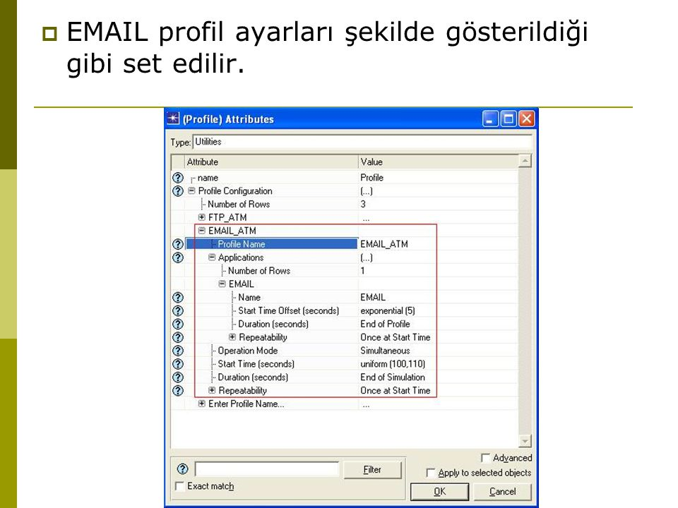 EMAIL profil ayarları şekilde gösterildiği gibi set edilir.