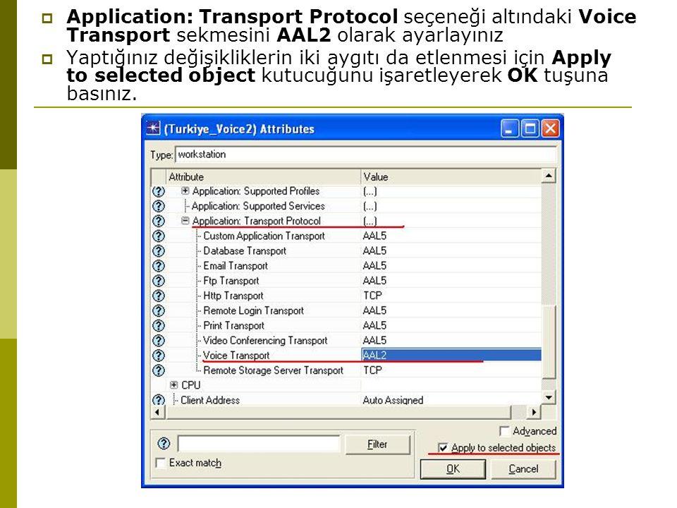 Application: Transport Protocol seçeneği altındaki Voice Transport sekmesini AAL2 olarak ayarlayınız