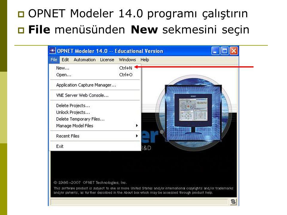 OPNET Modeler 14.0 programı çalıştırın