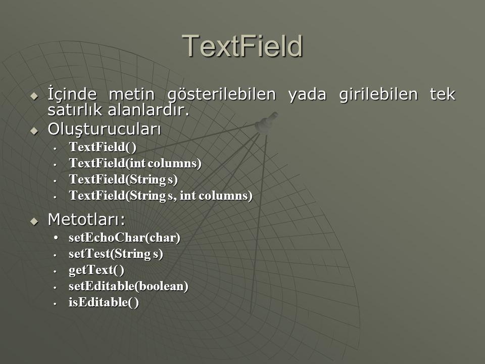 TextField İçinde metin gösterilebilen yada girilebilen tek satırlık alanlardır. Oluşturucuları. TextField( )