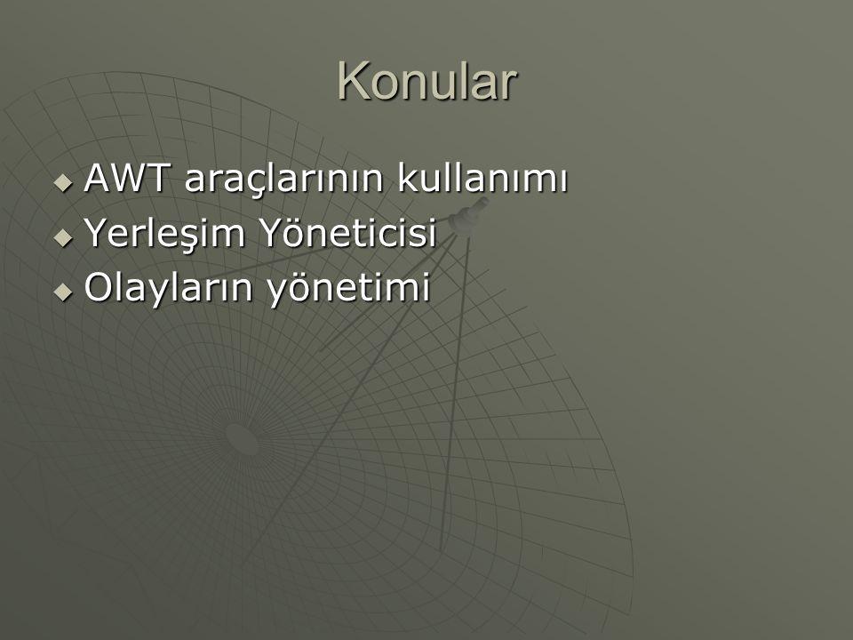 Konular AWT araçlarının kullanımı Yerleşim Yöneticisi