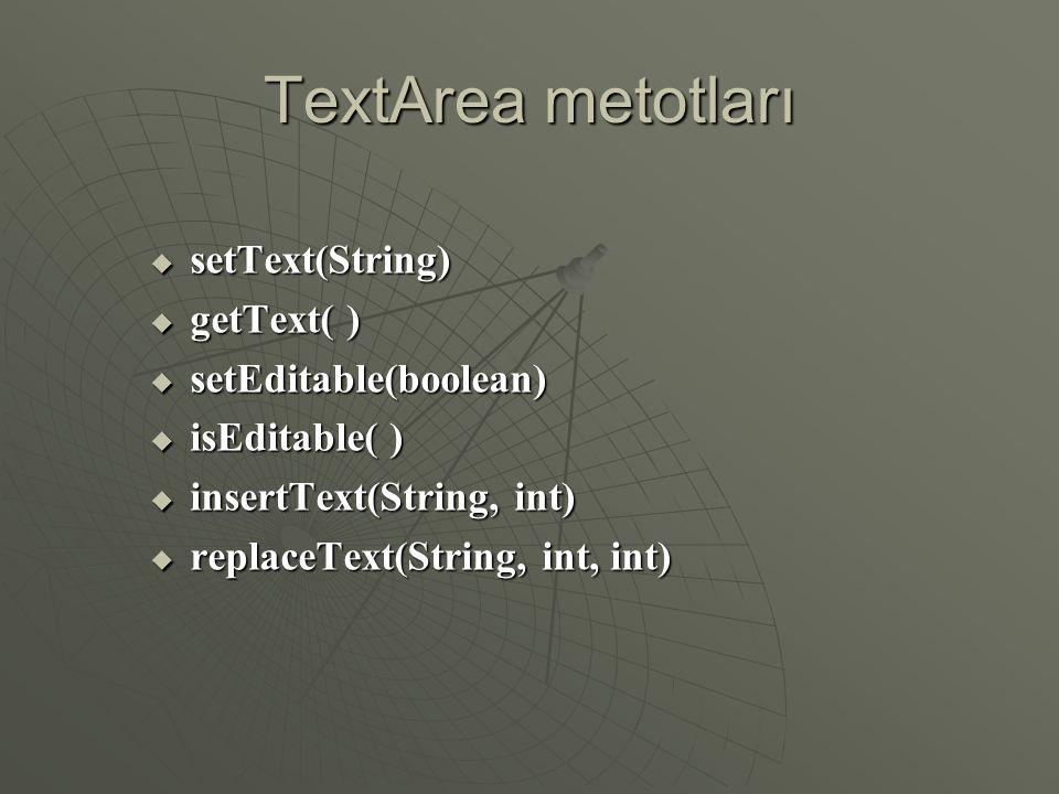 TextArea metotları setText(String) getText( ) setEditable(boolean)