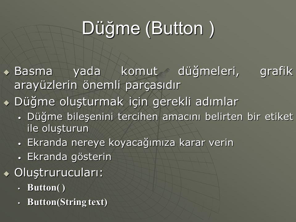 Düğme (Button ) Basma yada komut düğmeleri, grafik arayüzlerin önemli parçasıdır. Düğme oluşturmak için gerekli adımlar.