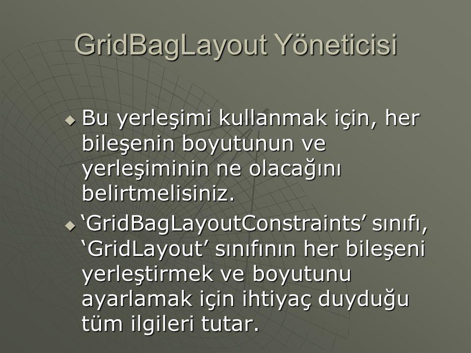 GridBagLayout Yöneticisi