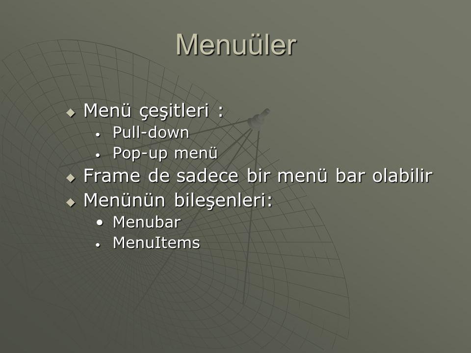 Menuüler Menü çeşitleri : Frame de sadece bir menü bar olabilir