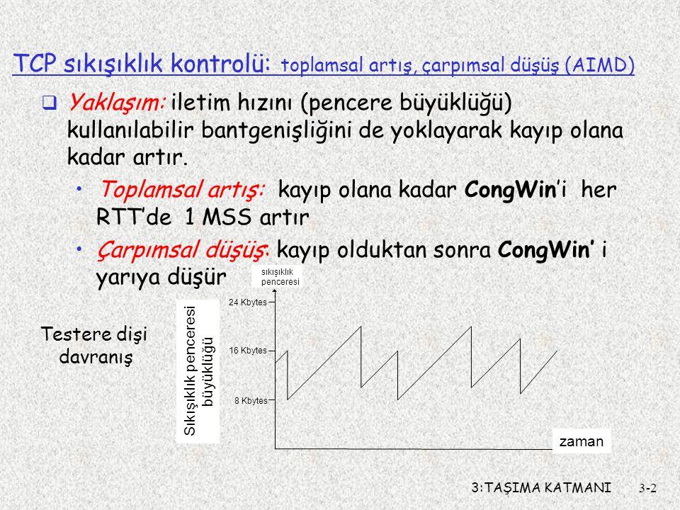 TCP sıkışıklık kontrolü: toplamsal artış, çarpımsal düşüş (AIMD)