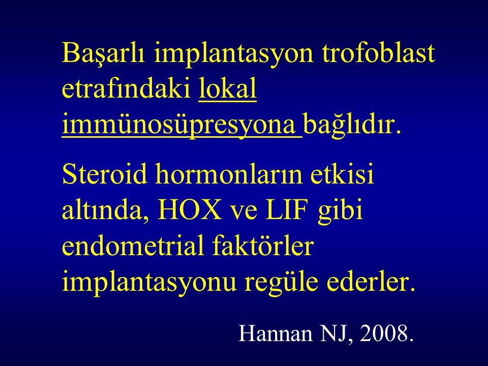 Başarlı implantasyon trofoblast etrafındaki lokal immünosüpresyona bağlıdır.