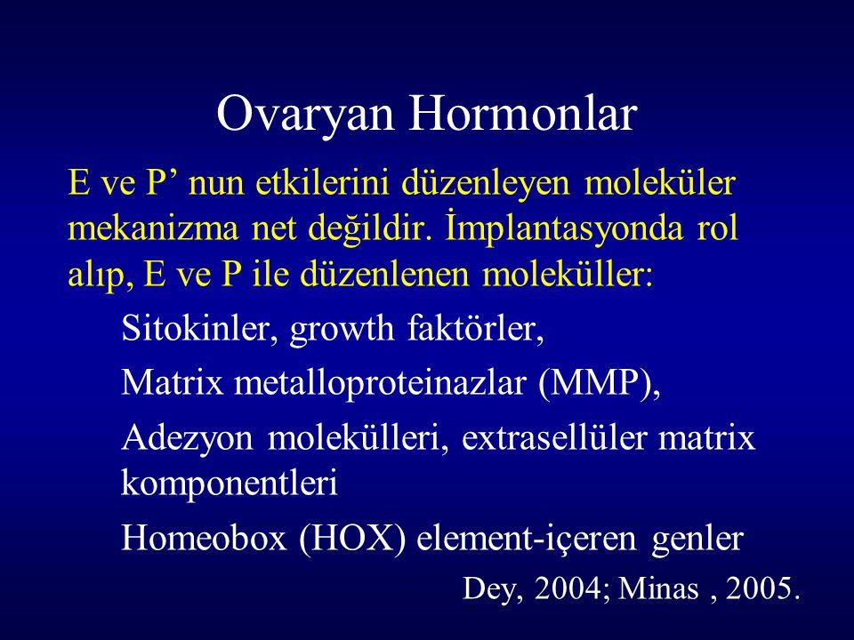 Ovaryan Hormonlar E ve P' nun etkilerini düzenleyen moleküler mekanizma net değildir. İmplantasyonda rol alıp, E ve P ile düzenlenen moleküller: