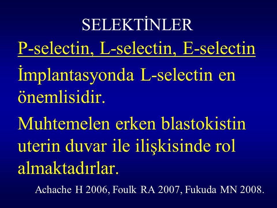 İmplantasyonda L-selectin en önemlisidir.