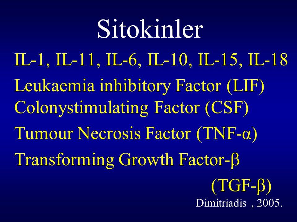 Sitokinler IL-1, IL-11, IL-6, IL-10, IL-15, IL-18. Leukaemia inhibitory Factor (LIF) Colonystimulating Factor (CSF)