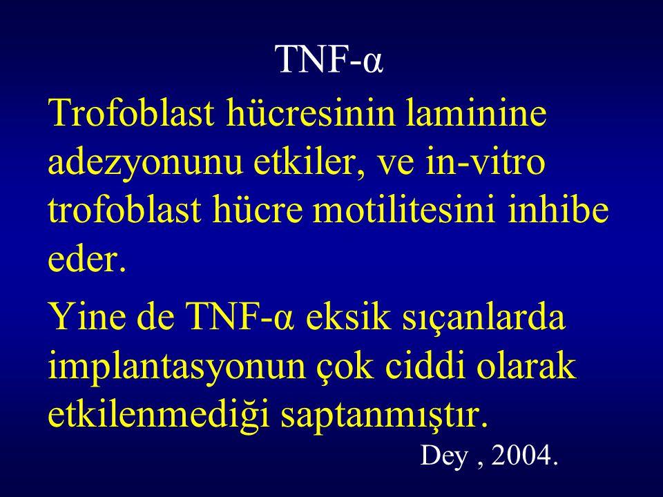 TNF-α Trofoblast hücresinin laminine adezyonunu etkiler, ve in-vitro trofoblast hücre motilitesini inhibe eder.