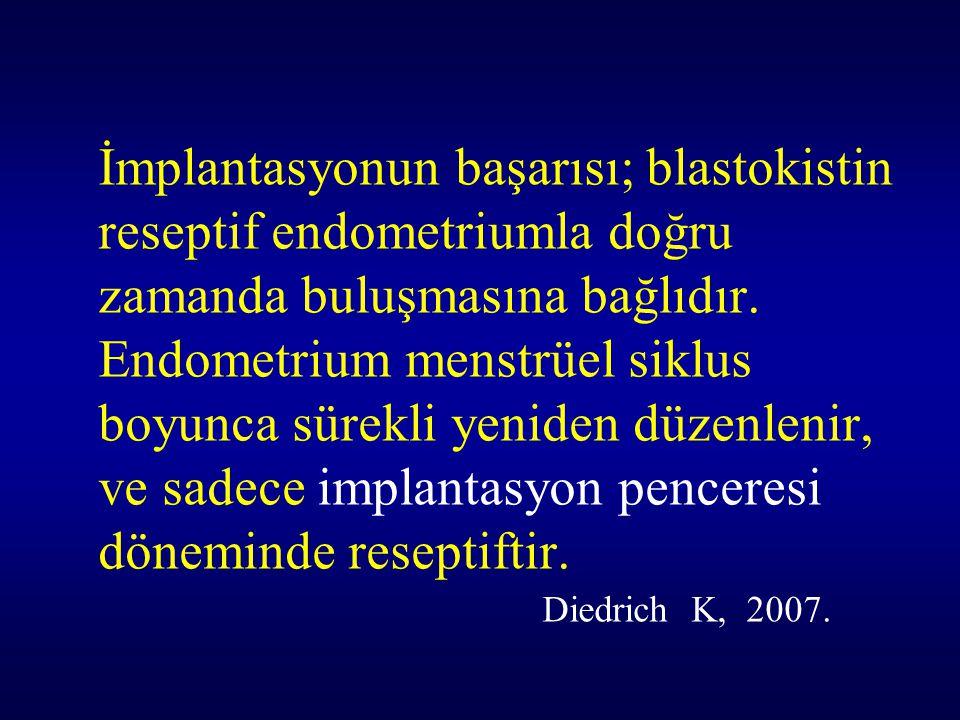 İmplantasyonun başarısı; blastokistin reseptif endometriumla doğru zamanda buluşmasına bağlıdır.
