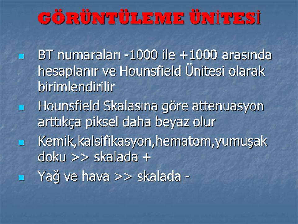 GÖRÜNTÜLEME ÜNİTESİ BT numaraları -1000 ile +1000 arasında hesaplanır ve Hounsfield Ünitesi olarak birimlendirilir.
