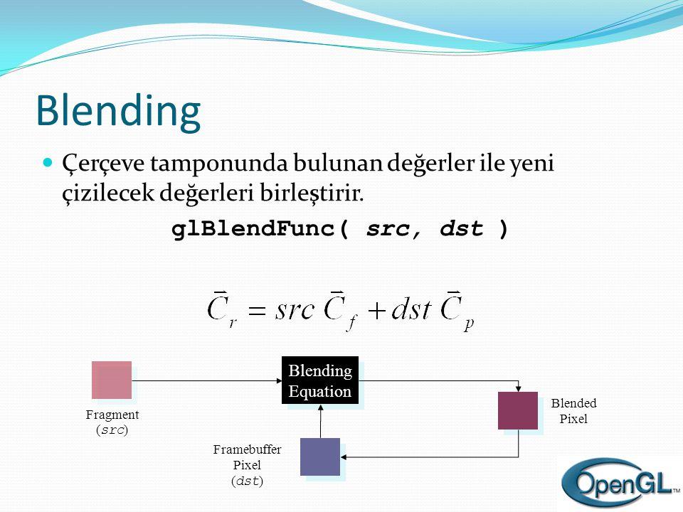Blending Çerçeve tamponunda bulunan değerler ile yeni çizilecek değerleri birleştirir. glBlendFunc( src, dst )