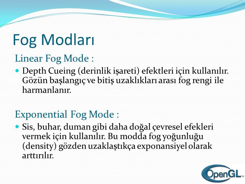 Fog Modları Linear Fog Mode : Exponential Fog Mode :