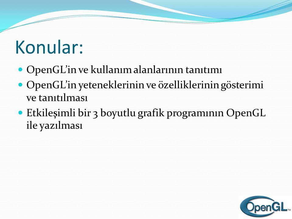 Konular: OpenGL'in ve kullanım alanlarının tanıtımı