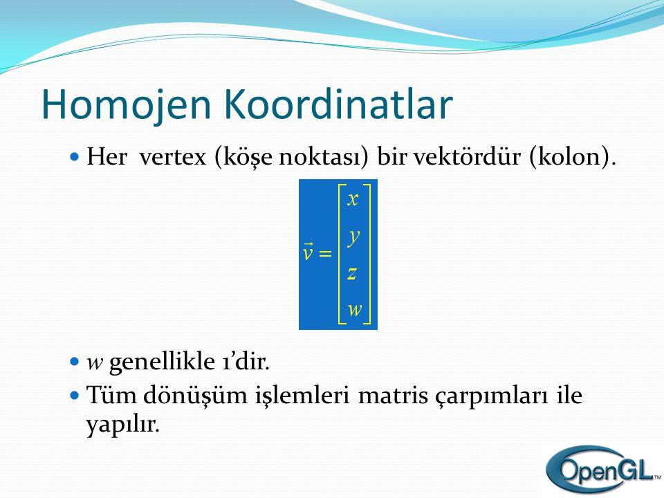 Homojen Koordinatlar Her vertex (köşe noktası) bir vektördür (kolon).