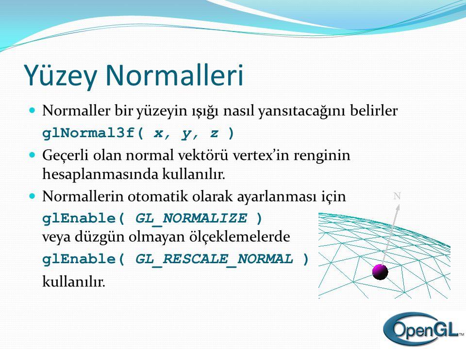 Yüzey Normalleri Normaller bir yüzeyin ışığı nasıl yansıtacağını belirler. glNormal3f( x, y, z )