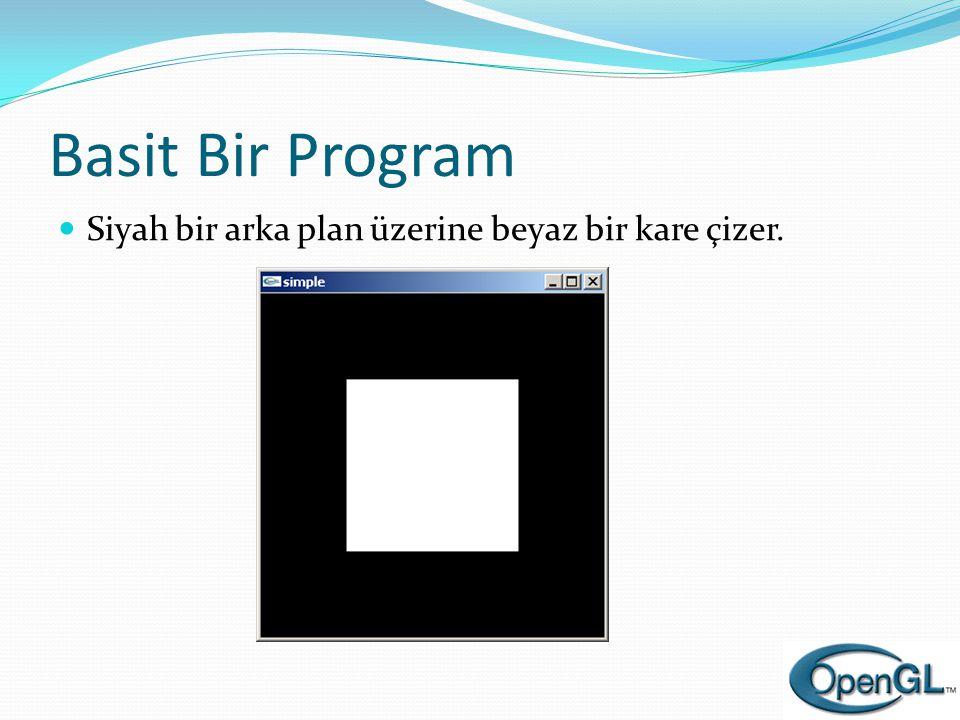 Basit Bir Program Siyah bir arka plan üzerine beyaz bir kare çizer.
