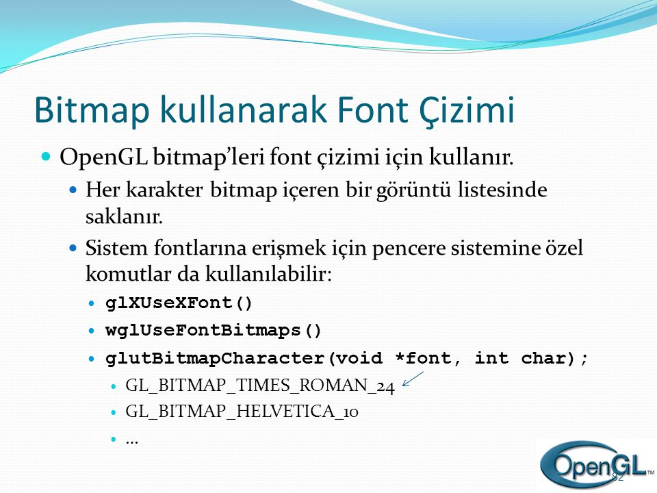 Bitmap kullanarak Font Çizimi