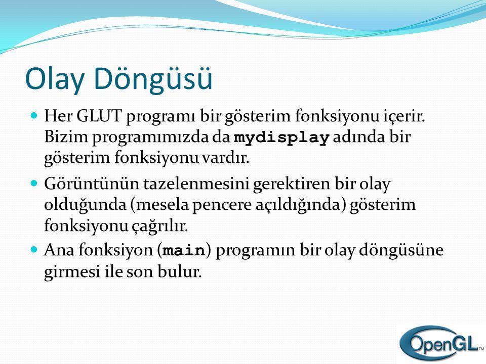 Olay Döngüsü Her GLUT programı bir gösterim fonksiyonu içerir. Bizim programımızda da mydisplay adında bir gösterim fonksiyonu vardır.
