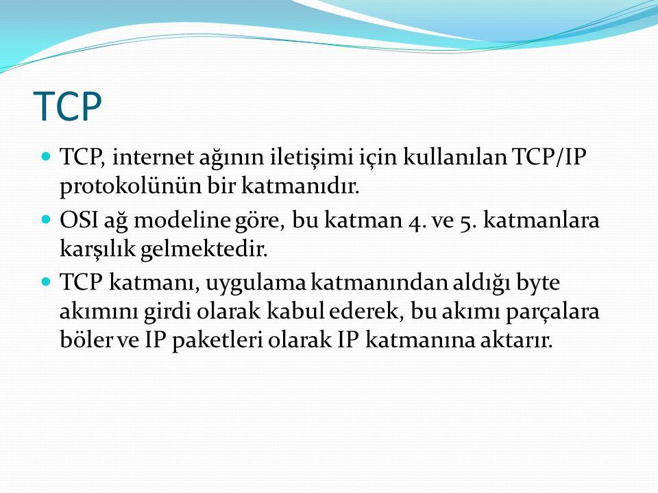TCP TCP, internet ağının iletişimi için kullanılan TCP/IP protokolünün bir katmanıdır.