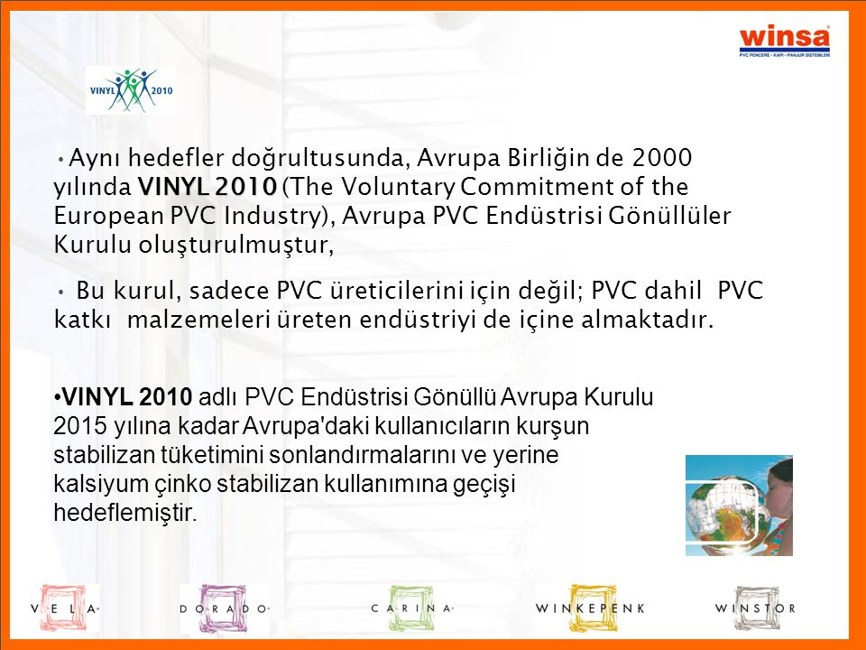 Aynı hedefler doğrultusunda, Avrupa Birliğin de 2000 yılında VINYL 2010 (The Voluntary Commitment of the European PVC Industry), Avrupa PVC Endüstrisi Gönüllüler Kurulu oluşturulmuştur,