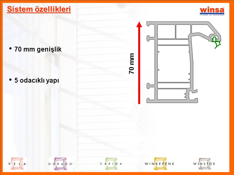 Sistem özellikleri 70 mm genişlik 70 mm 5 odacıklı yapı