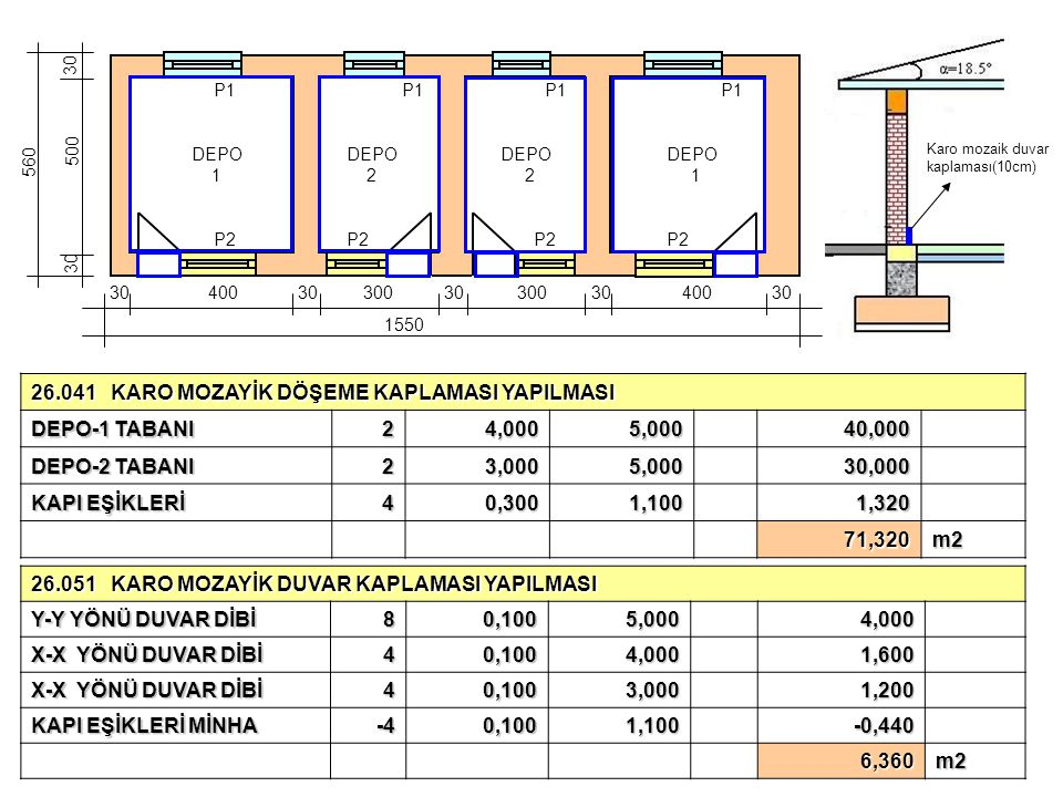 26.041 KARO MOZAYİK DÖŞEME KAPLAMASI YAPILMASI DEPO-1 TABANI 2 4,000