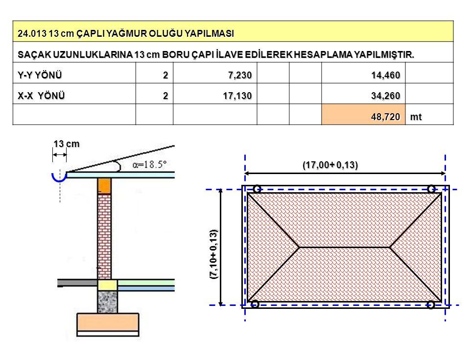 24.013 13 cm ÇAPLI YAĞMUR OLUĞU YAPILMASI