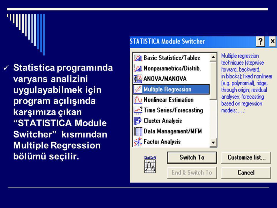 Statistica programında varyans analizini uygulayabilmek için program açılışında karşımıza çıkan STATISTICA Module Switcher kısmından Multiple Regression bölümü seçilir.