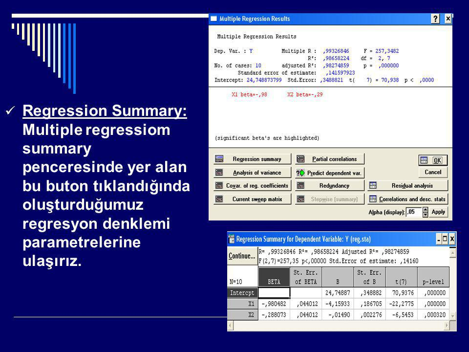 Regression Summary: Multiple regressiom summary penceresinde yer alan bu buton tıklandığında oluşturduğumuz regresyon denklemi parametrelerine ulaşırız.