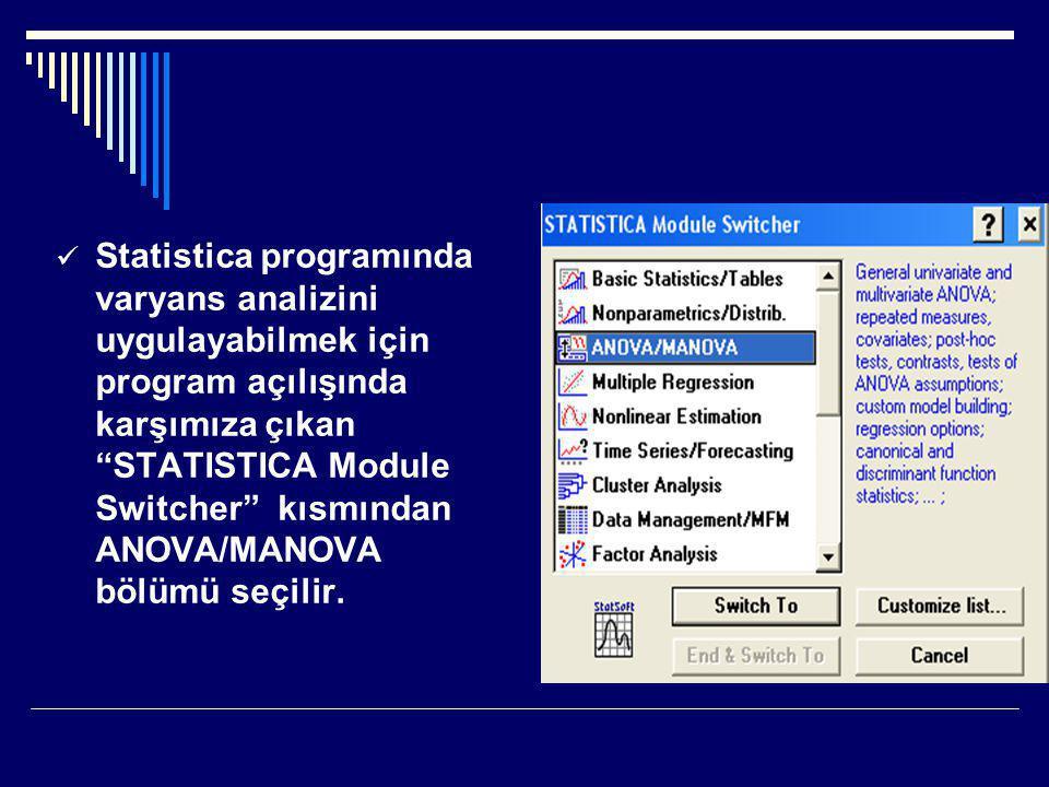 Statistica programında varyans analizini uygulayabilmek için program açılışında karşımıza çıkan STATISTICA Module Switcher kısmından ANOVA/MANOVA bölümü seçilir.