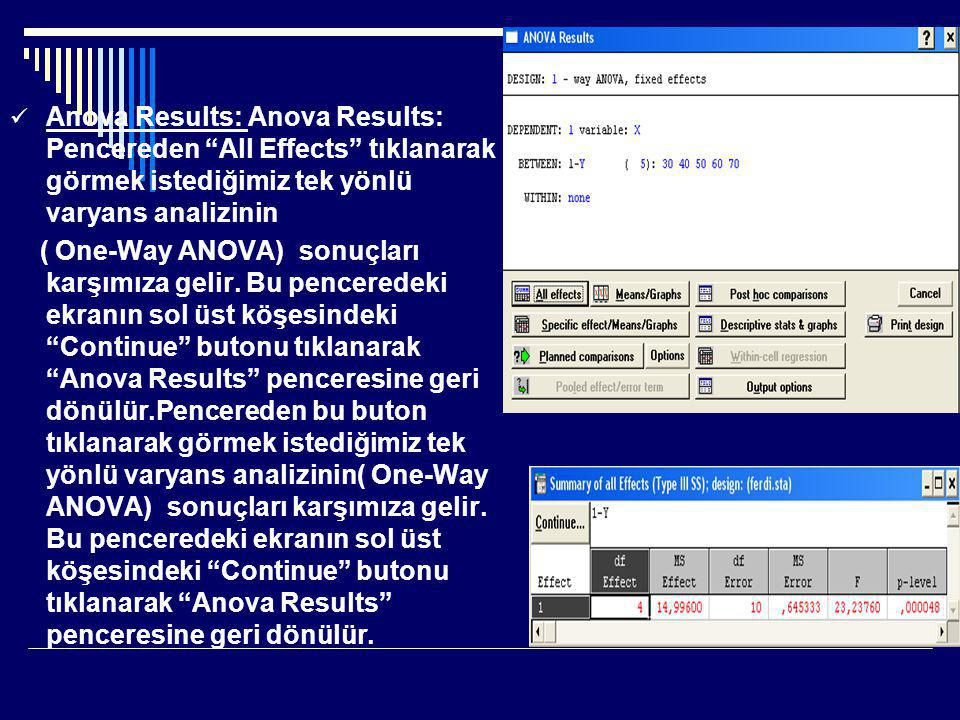 Anova Results: Anova Results: Pencereden All Effects tıklanarak görmek istediğimiz tek yönlü varyans analizinin
