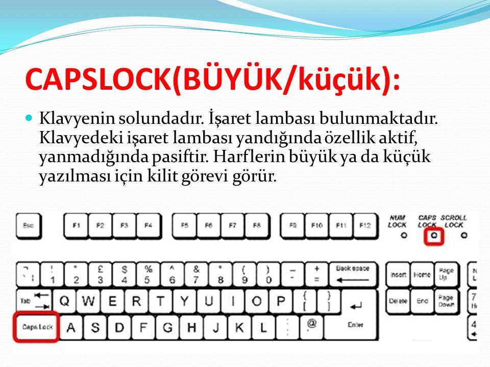 CAPSLOCK(BÜYÜK/küçük):