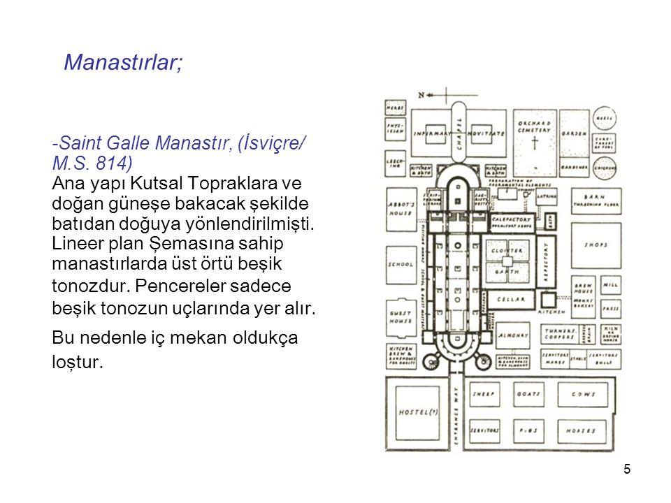 Manastırlar; -Saint Galle Manastır, (İsviçre/ M.S. 814)